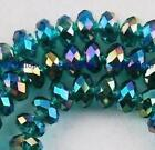 22222 Loose Beads womens Rondelle Bicone Glass hot sale 49PC 6mm AB peacock