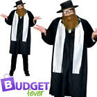 Rabbi Mens Fancy Dress Saint & Sinner Jewish Religious Adults Costume Outfit New