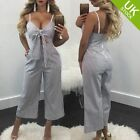 Women Casual Jumpsuit Rompers Sleeveless Striped Zipper Bodycon Tracksuit Club