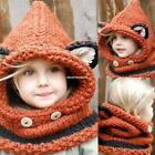 Kids Warm Fox Animal Hats Knitted Coif Hood Scarf Beanies for Autumn EN24H