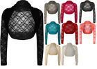 New Womens Lace Long Sleeve Ladies Cropped Short Shrug Bolero Cardigan Top 8-12