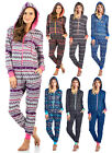 Ashford & Brooks Women's Sweater Fleece Zip Up Hooded Jumpsuit One Piece Pajama