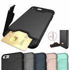 iPhone 7 Shockproof Cover Case with Hidden Credit Card Holder & Kickstand