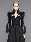 Black Long Sleeve Gothic Cape w/Feathers Lace Bell Sleeves Shrug Caplet Jacket