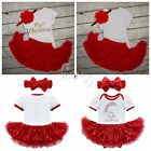 My First Christmas Newborn Tutu Dress Skirt Baby Girls Princess Romper Outfits