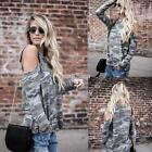 New Fashion Women Casual O-Neck Long Sleeve Cold the Shoulder Camouflage S0BZ