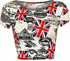 New Womens UK England Union Jack Flag Print Cap Sleeve Vest Ladies Crop Top 8-14