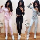 New Women Ladies Tracksuit Suit Gym Pants Sets 2Pcs Sport Wear Casual Sweatshirt