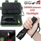 Tactical 50000LM LED T6 LED Flashlight Zoomable Torch Lamp Light+18650+Charger