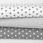 "Grey/White Stars & Stripes, sold per Half Metre 100% Cotton Fabrics, 60"" Wide"
