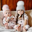 Baby Boy Girls Hair Ball Earbud Hat Kids Child Crochet Winter Warm Knit Hats Cap