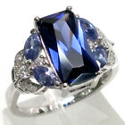 STUNNING 3 CT TANZANITE 925 STERLING SILVER RING SIZE 5-10