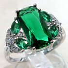 TRENDY 3 CT EMERALD 925 STERLING SILVER RING SIZE 5-10