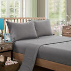 Solid Fittted Sheet Flat Sheet Sets Queen King Size Bed Linen Set Pillowcase New