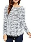 Two By Vince Camuto Rich Black Star Power L/S Crew-Neck Eyelash Sweater NWT