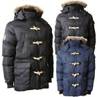 Mens Faux Fur Hood Quilted Padded Winter Parka Coat Hooded Toggle Jacket Size