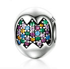Genuine 925 Sterling Silver Charm Bead  Easter Egg CZ European Charms Bracelet