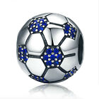 Genuine 925 Sterling Silver Charm Bead Football Soccer European Charms Bracelet