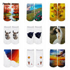 oil socks - Sport 3D Color Oil Painting Socks Breathable Polyester Short Socks Women Men