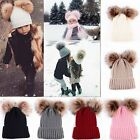 Double Ball Kids Toddler Winter Warm Beanie Hat Cap Knit Crochet Fur Pom Ski Cap