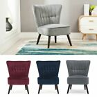 Eline Velvet Button Back Retro Occasional Accent Bedroom Lounge Chair Fabric Tub