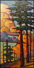 W HAWKINS Western California Pines Landscape Craftsman Oil Painting Art Original