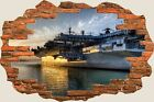 3D Hole in Wall Air Craft Carrier View Wall Stickers Wallpaper Mural 927