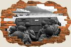 3D Hole in Wall Army D Day Landing View Wall Stickers Decal Wallpaper Mural 936