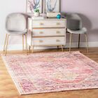 nuLOOM Traditional Vintage Distressed Jenice Area Rug in Pink and Purple Multi