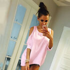 Women Cut Out Cold Shoulder T-Shirt Tee Summer Holiday Casual Shirt Tops Blouse