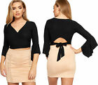 Womens Plunge V-Neck Wrapover Belted Long Flared Sleeve Short Ladies Crop Top