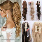 "24"" Jaw Curly Ponytail Hairpiece Hair Extensions Pony Tail Brown Black Halloween"