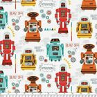 GALAXY ROBOTS OUT OF SPACE KIDS NOVELTY QUILT SEWING FABRIC *Free Oz Post