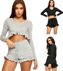 Womens Knitted Frill Shorts Hot Pants Long Sleeve Crop Top Ladies Loungewear Set