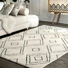 white wool rug - nuLOOM Hand Made Contemporary Moroccan Wool Area Rug in Natural Off White
