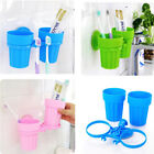 Suction Cup Plastic Storage Holder with 2 Tooth Tumblers Home Bathroom Supplies
