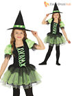 Girls Green Tutu Witch Costume + Hat Childs Wicked Halloween Fancy Dress Outfit