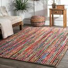 nuLOOM Braided Bohemian Natural Jute and Cotton Blend Area Rug in Multicolor