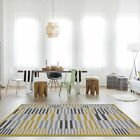 Modern Striped Ochre Yellow Scandi Living Room Rugs Trendy Nordic Geometric Rug