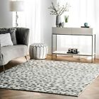 nuLOOM Contemporary Modern Animal Leopard Print Area Rug in White and Grey