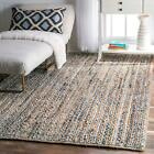 nuLOOM NEW Hand Made Natural Cotton and Jute Blend Braided Area Rug in Blue