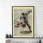 Home Captain America Newspaper Style Printing Art Picture Wall Decor No Frame US