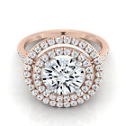 14k Rose Gold 1 1/2ct TDW Round Diamond Double Halo Engagement Ring