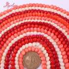 """7mm Coin Coral Red White Pink Orange  Beads For Jewelry Making Gemstone 15""""DIY"""