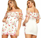 Womens Floral Embroidered Mesh Off Shoulder Bardot Mini Dress Ladies Bodycon