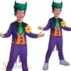 Boys Joker Costume Cartoon Halloween Fancy Dress Batman Child Outfit