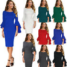 Womens Autumn Winter Elegant Long Flare Bell Sleeve Party Cocktail Sheath Dress