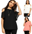 Womens Pleated Chiffon Necklace Top Ladies Cut Out Cold Shoulder New 8-14