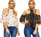 Womens Choker Cold Shoulder Top Ladies Bardot Short Sleeve Lace Floral Print New
