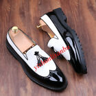Men Leather Stylish Tassels Oxfords Shoes Business Brogues Wingtip Dress Shoes